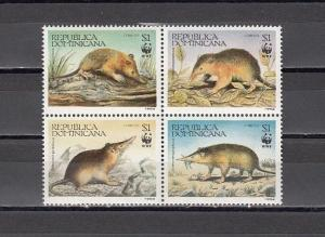 Dominican Rep., Scott cat. 1158 A-D. World Wildlife Fund issue.