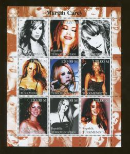 Turkmenistan Musician Mariah Carey Commemorative Souvenir Stamp Sheet