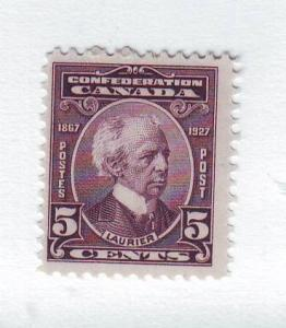 Canada Sc144 1927 5 c Sir Wilfrid Laurier stamp mint