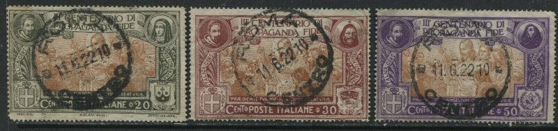 Italy 1922 Christ 3 values to 50 centemisi all with Rome CDS's