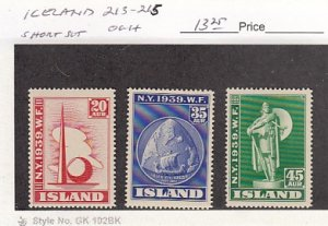 J25785  jlstamps 1939 iceland short set mh #213-5 world fair checked f/condition