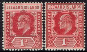 LEEWARD ISLANDS 1907 KEVII 1D BOTH SHADES