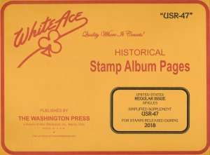 WHITE ACE 2018 US Regular Issue Singles Simplified Stamp Album Supplement USR-47