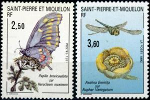 St. Pierre and Miquelon #554-555 Butterflies