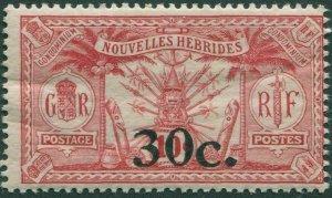 New Hebrides French 1924 SGF39 30c on 10c carmine Weapons Idols MNH