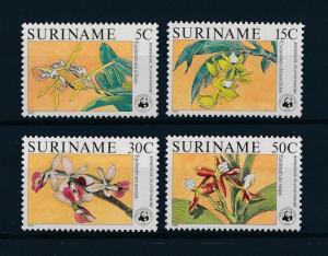 [53979] Suriname Surinam 1986 Wild animals Mammal WWF Flowers Orchids Panda MNH