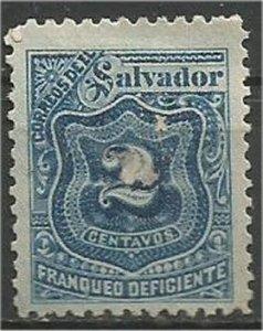 EL SALVADOR, 1897, used 2c, POSTAGE DUE Scott J26