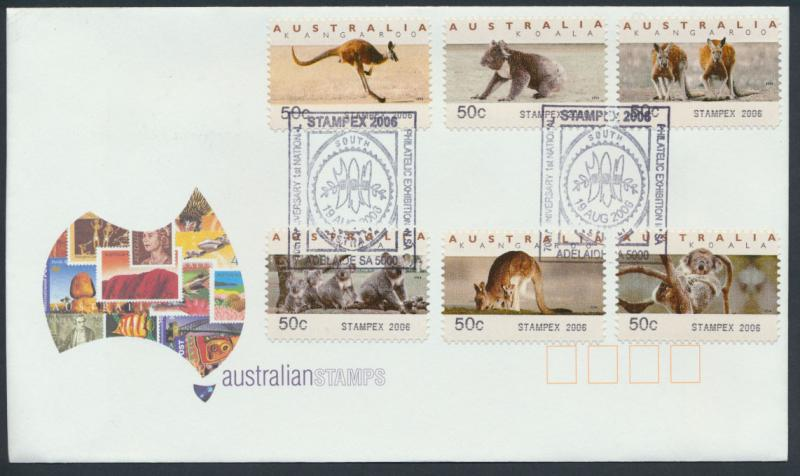 Australia 2006 Counter Printed Labels on Cover from Stampex South Australia