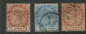 Mauritius - Scott 80-82 - QV Definitive Issue -1885- FU- Set of 3 Stamps