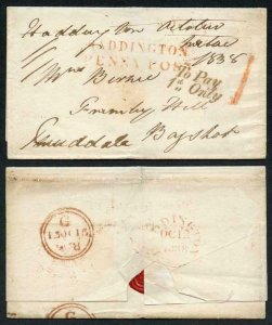 12th Oct 1838 Haddington Penny Post To Pay 1d Only amd Hand Struck 1