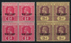 Virgin Islands #MR1-2* NH Blocks of 4 CV $20.20