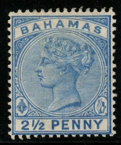 BAHAMAS SG51a 1884 2½d BLUE WITH SLOPING 2 MTD MINT