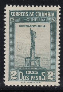 Colombia 1935 Olympic Games 2p Dull Green and Gray. LM Mint . Scott 434