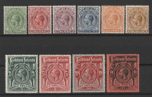 FALKLAND ISLANDS : 1912 KGV set ½d-£1 wmk mult crown. MNH **.