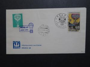 Czechoslovakia 1968 Balloon Cover w/ Green Poster Stamp - Z8816