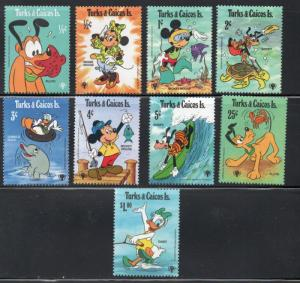 Turks & Caicos Sc 399-407 1979 Disney Characters stamp set mint NH