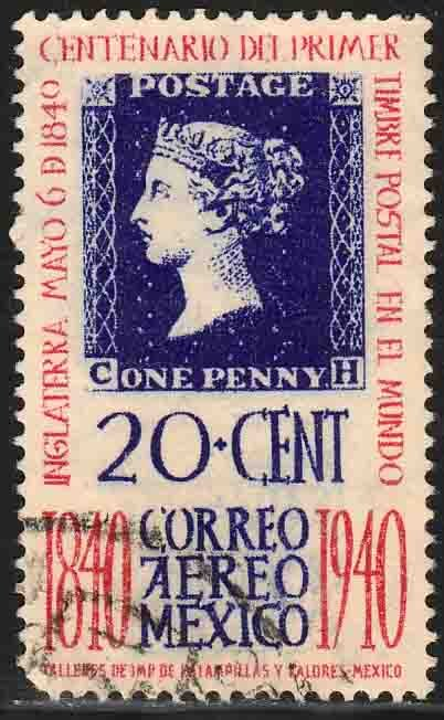 MEXICO C105, 20¢ Penny Black Centennial. Used. VF.  (679)