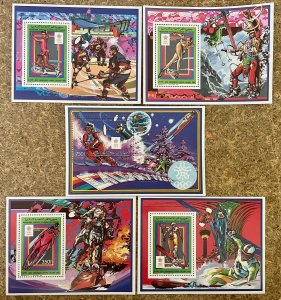 Stamps Deluxes blocs + S/S Olympic Games Calgary 88 Comores Perf.