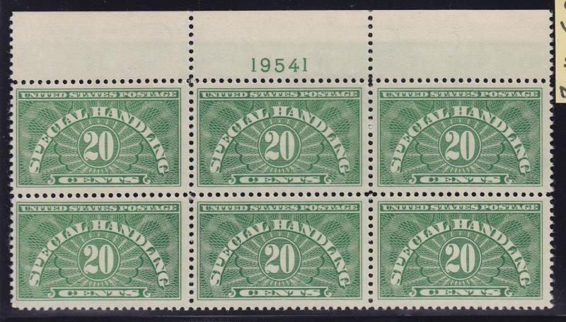 QE3a VF-XF never hinged TOP plate block of 6 nice color cv $ 175 ! see pic !