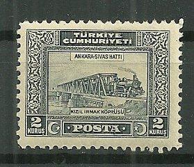 1929 Turkey 2K Train Crossing Bridge MH