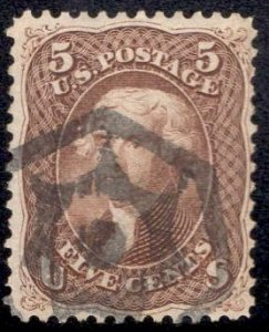 US Stamp Scott #76 Used SCV $120. Awesome Cancel. Skinner-Eno GE-H 8
