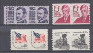 US Sc 1281/1907 MNH. 4 diff pairs with Blind Perfs, appear imperf, nice group.