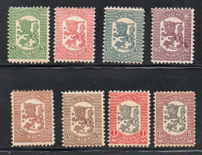 Finland Sc 111-18 1918 Coat of Arms Vasa issue stamp set mint