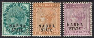 NABHA 1885 QV 1/2A 3A AND 8A