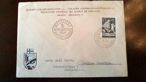 "RARE FINLAND 1952 ""CHESS"" OLYMPIAD POSTALY USED 1ST DAY COVER TO GERMANY + LABEL"