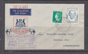 NETHERLANDS, 1946 KLM Proving Flight Airmail cover to Johannesburg, South Africa