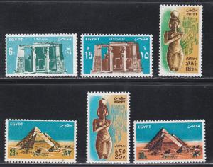 Egypt # C177-182, Temples - Pyramids, NH, 1/2 Cat.