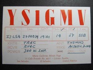 9950 Amateur Radio QSL Card COLONIA ESCALON EL SALVADOR CENTRAL AMERICA