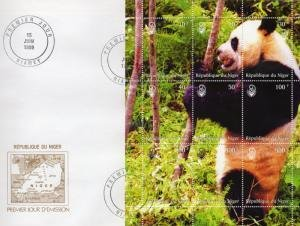 Niger 1999 GIANT PANDA s/s Perforated in official FDC