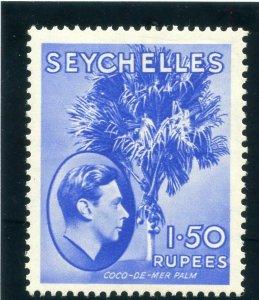 Seychelles 1938 KGVI 1r 50c ultramarine (CH) MLH. SG 147. Sc 146.