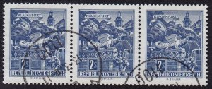 Austria - 1968 - Scott #696 - used strip of 3 - Klagenfurt