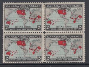 Canada Sc 86 MOG. 1898 2c Imperial Penny Postage, blue oceans, block of 4, HR-s