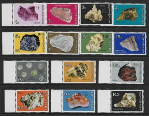 BOTSWANA SG367/80 1976 MINERALS NEW CURRENCY DEFINITIVE SET MNH