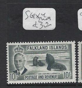 FALKLAND ISLANDS  (P0103B)  KGVI  10/-  PENGUIN  SG 184    MOG