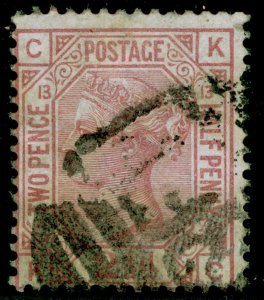 SG141, 2½d rosy mauve plate 13, USED. Cat £85. KC