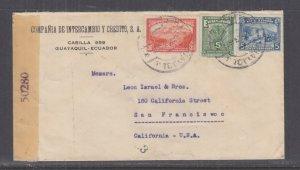 ECUADOR, c1942 Censored cover, Guayaquil to USA, 5c.(2), 30c.