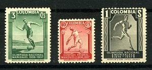 Colombia 1937 4th National Olympiad sg490/2 (3v) cv£50 UM Stamps
