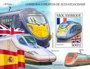 Z08 IMPERF MOZ190416b MOZAMBIQUE 2019 European speed trains MNH ** Postfrisch