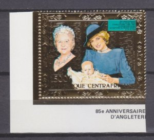 1985 Central African Republic 1154 gold 85th anniversary of Queen Elizabeth
