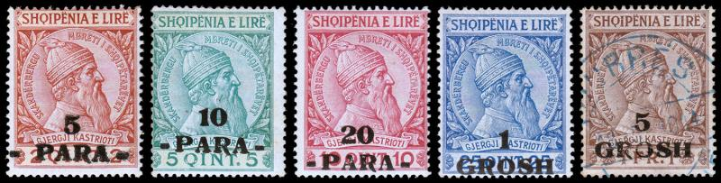 Albania Scott 47-50, 52 (1914) Mint/Used H F-VF, CV $33.50