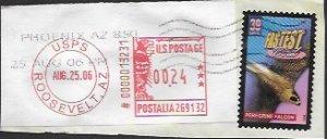 US #4057 Used Postmark. Fastest Bird. Peregrine Falcon.