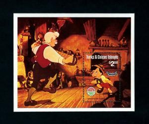 TURKS & CAICOS - 1980 - DISNEY - PINOCCHIO - FAIRY TALES - MINT - MNH S/SHEET!