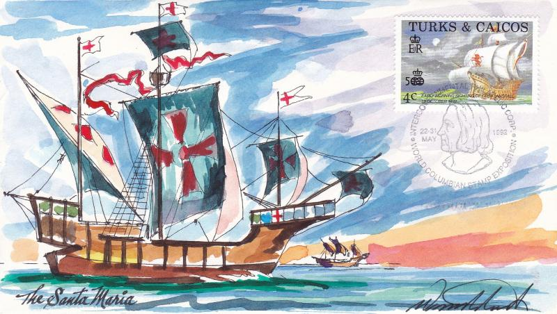 Turks & Caicos 1992 Christopher Columbus  Wild Horse Cachet FDC Hand Painted VF+