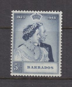 BARBADOS, 1949 Silver Wedding 5s., mnh.