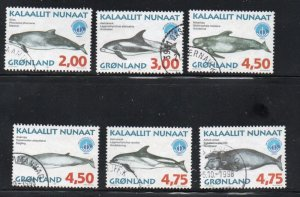 Greenland Sc 329-34 1998 Whales stamp set used