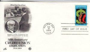 1983, 50th Anniv. Credit Union, Artcraft/PSC, FDC (D15010)